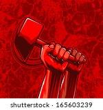 ira,fondo,comunismo,comunista,elemento,lucha,puño,libertad,gráfico,martillo,mano,golpear,humana,icono,ilustración