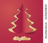 vector red paper christmas tree ... | Shutterstock .eps vector #165603854