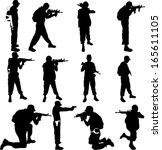 army soldiers silhouette vector ... | Shutterstock .eps vector #165611105