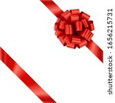 tilted red gift ribbon bow... | Shutterstock .eps vector #1656215731