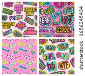 set of 4 seamless patterns with ... | Shutterstock .eps vector #1656245434