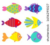 fish icon set. cute cartoon... | Shutterstock .eps vector #1656295027