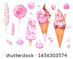 set of  watercolor pink ice... | Shutterstock . vector #1656303574
