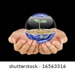 Care for the earth-Earth and the hand - stock photo