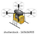 A toy remote control octocopter delivery drone, with a yellow package. Shown with spinning propellers. - stock vector