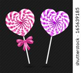two heart shaped lollipops... | Shutterstock .eps vector #165639185