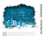 christmas greeting card with... | Shutterstock .eps vector #165640631