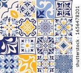 set of 16 tiles azulejos in... | Shutterstock .eps vector #1656478201