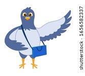 Pigeon Bird. Flat Cartoon...