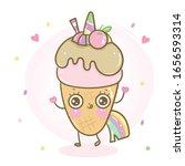 cute unicorn vector ice cream... | Shutterstock .eps vector #1656593314