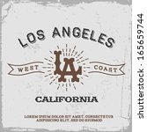 vintage label with los angeles... | Shutterstock .eps vector #165659744