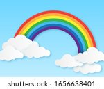 paper rainbow. clouds and... | Shutterstock .eps vector #1656638401