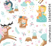 childish seamless pattern with... | Shutterstock .eps vector #1656640954