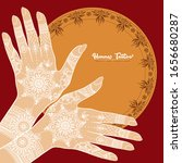 female hands with traditional... | Shutterstock .eps vector #1656680287