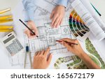 close up of two architects... | Shutterstock . vector #165672179