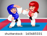 A vector illustration of kids practicing taekwondo in a dojo