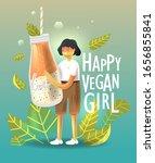cartoon young happy vegan woman ...   Shutterstock .eps vector #1656855841