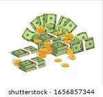 set of flat money. bundles of... | Shutterstock .eps vector #1656857344