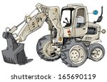 excavator   cartoon | Shutterstock .eps vector #165690119