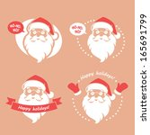Set Of Four Badges With Santa...