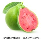 Isolated Green Guava With Pink...