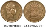 France French golden coin 40 forty francs 1830, head of King Charles X right, crowned shield with lilies divide denomination all within wreath, date below,
