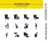 beverage icons set with red...