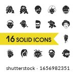 avatar icons set with cowgirl ...