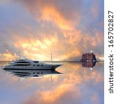 Fashionable Yacht In The Sea A...