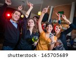 people dancing on a disco pub   ... | Shutterstock . vector #165705689