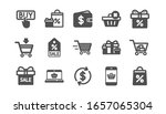 shopping icons. gift  percent...   Shutterstock . vector #1657065304