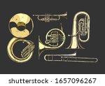 Vector Hand Drawn Set Of Brass...