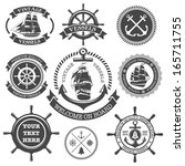 set of vintage nautical labels  ... | Shutterstock . vector #165711755
