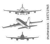 set of designed airplanes... | Shutterstock . vector #165711965