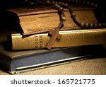 Old Holy Bibles And Wooden...