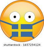 Yellow scared emoji in Swedish medical mask protecting from SARS, coronavirus, bird flu and other viruses, germs and bacteria and contagious disease as well as toxic smog and air pollution in Sweden.