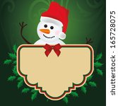 a happy snowman with a banner...   Shutterstock .eps vector #165728075