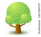 vector green tree with pink...