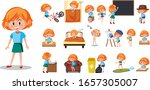 set of kid character with... | Shutterstock .eps vector #1657305007