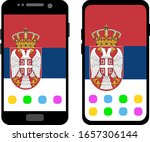 two black smartphones with a... | Shutterstock .eps vector #1657306144