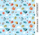 cute hand drawn nautical ... | Shutterstock . vector #1657308307