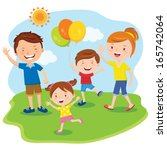 family day. happy family outing ... | Shutterstock .eps vector #165742064