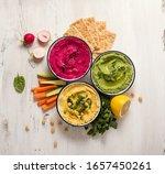 Various Hummus Dips  Flat Lay...
