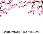 watercolor floral sakura frame. ...   Shutterstock . vector #1657488691