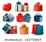 set of colorful retro gift... | Shutterstock .eps vector #165754829