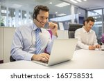 businessman in the office on... | Shutterstock . vector #165758531