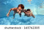 underwater brothers portrait in ... | Shutterstock . vector #165762305