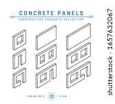 concrete panel icons. precast... | Shutterstock .eps vector #1657632067