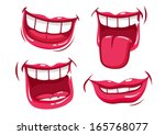 funny smiles vector set. | Shutterstock .eps vector #165768077
