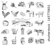 rural economy. set of vector sketches - stock vector